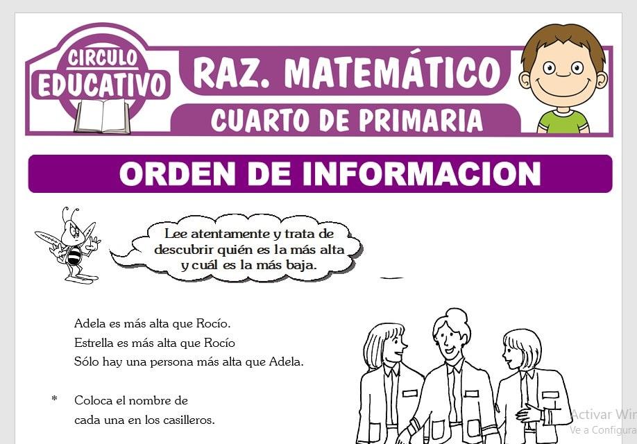 Problemas de Orden de Información para Cuarto de Primaria
