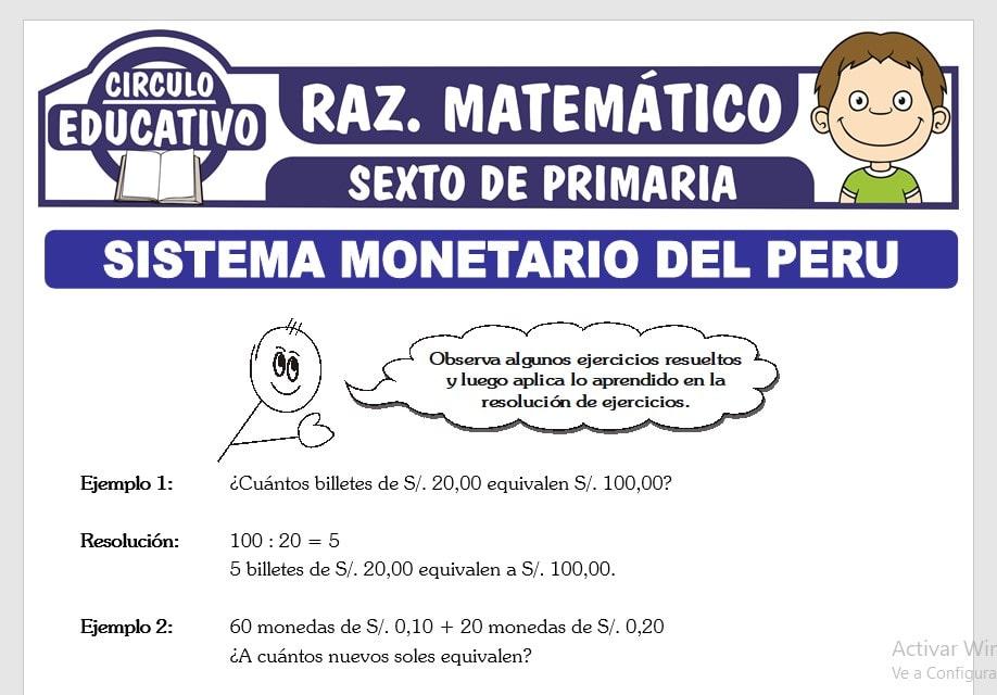 Problemas de Sistema Monetario del Perú para Sexto de Primaria