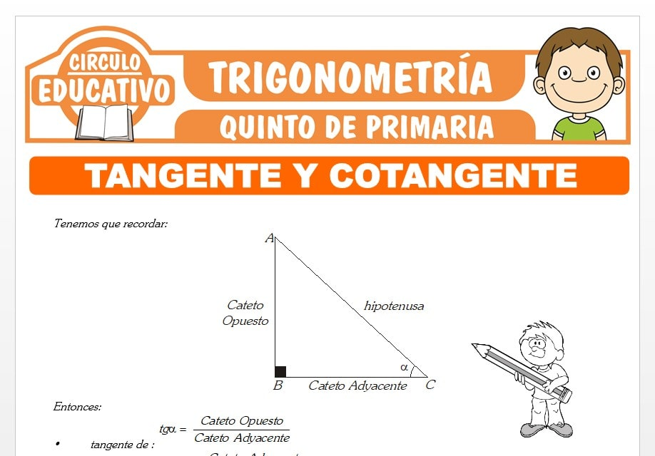 Razones Trigonométricas de Tangente y Cotangente para Quinto de Primaria