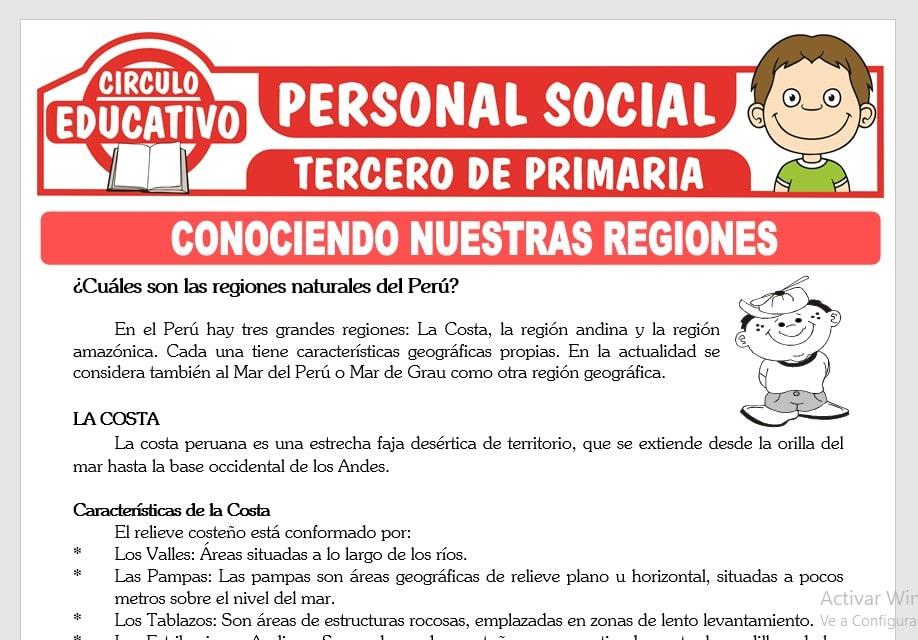 Regiones Naturales del Perú para Tercero de Primaria