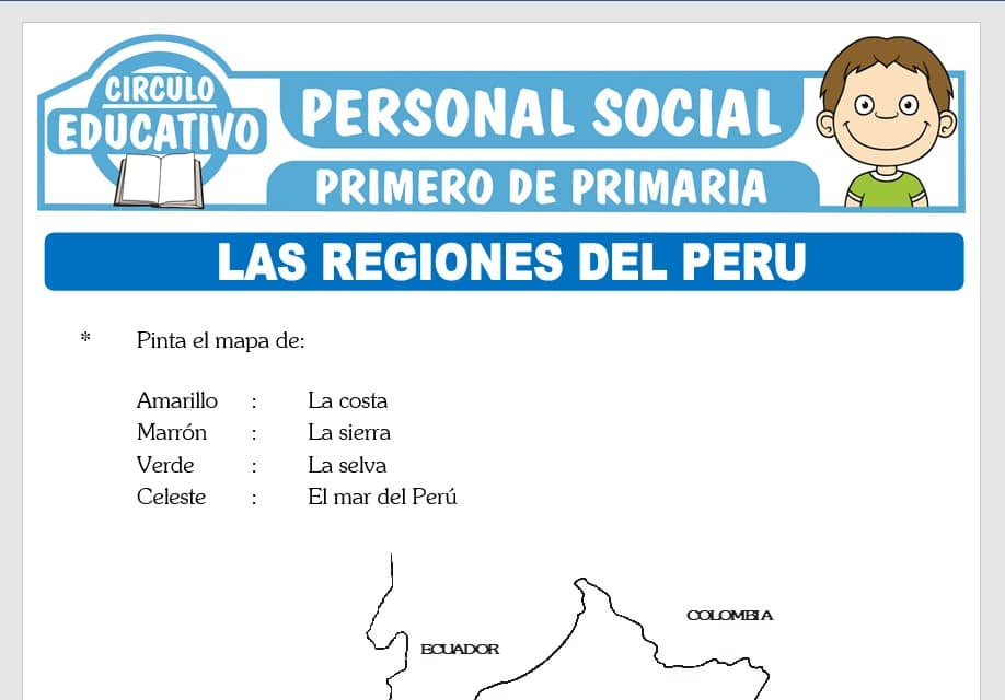 Regiones del Perú para Primero de Primaria