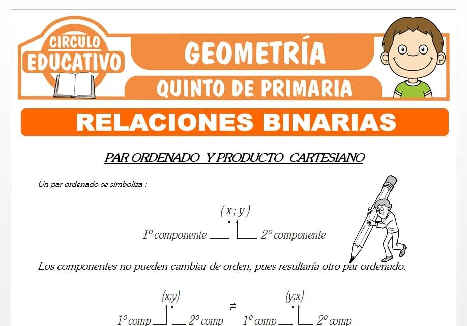 Relaciones Binarias para Quinto de Primaria