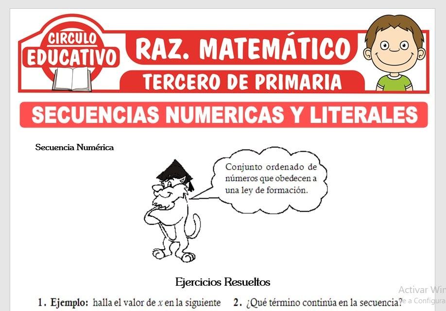 Secuencias Numéricas y Literales para Tercero de Primaria