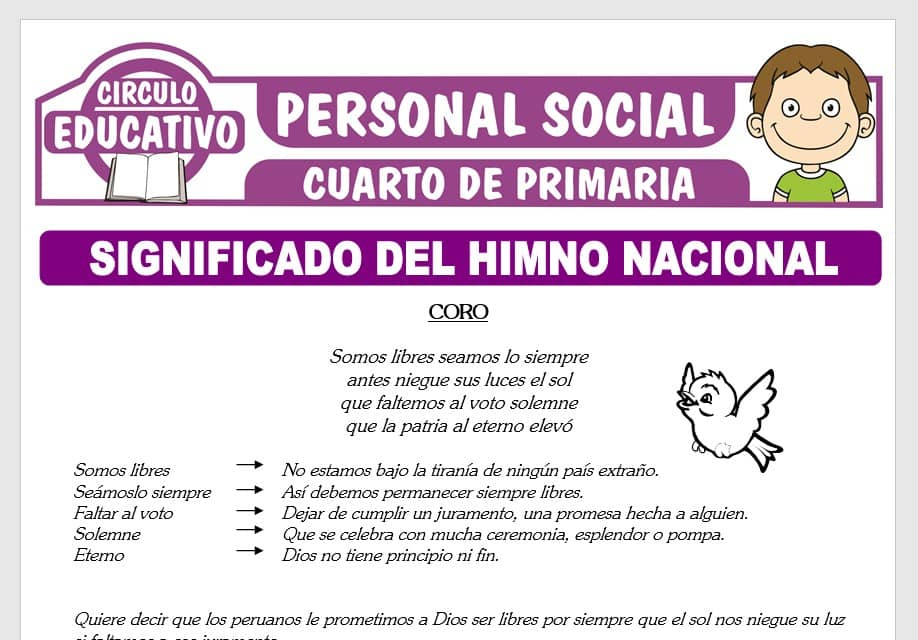 Significado del Himno Nacional del Perú para Cuarto de Primaria