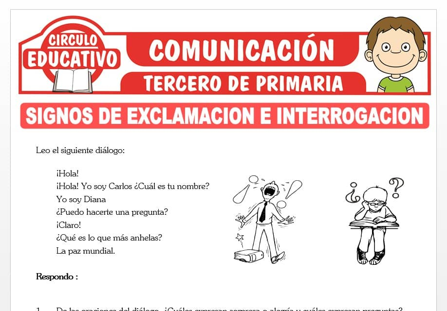 Signos de Exclamación e Interrogación para Tercero de Primaria