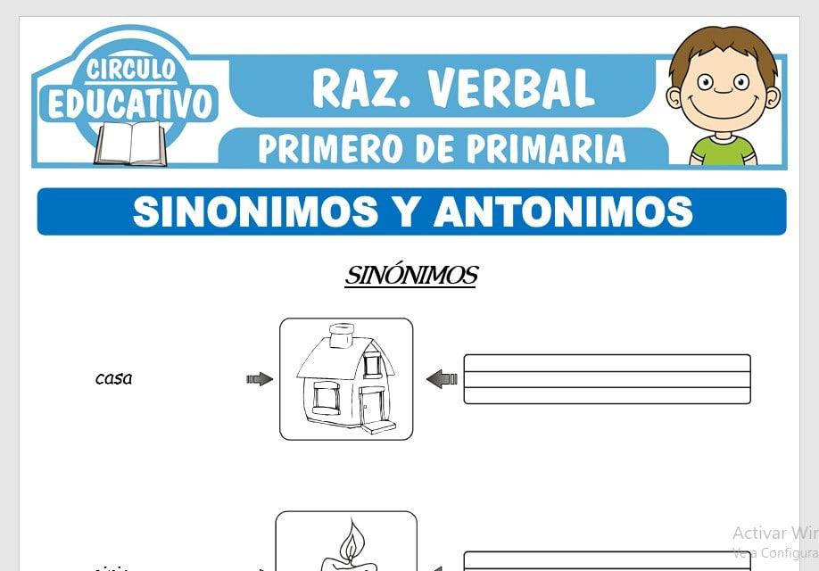 Sinónimos y Antónimos para Primero de Primaria