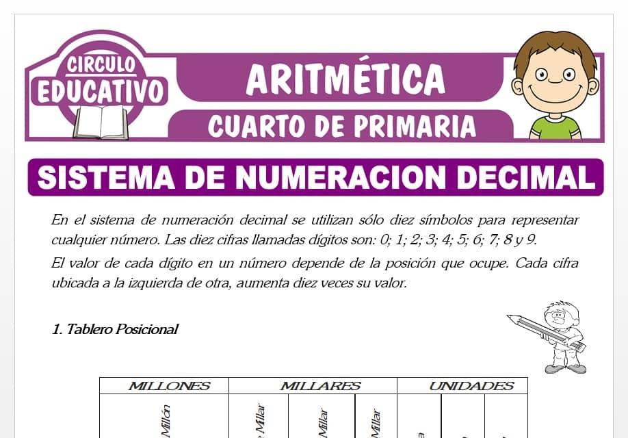 Sistema de Numeración Decimal para Cuarto de Primaria