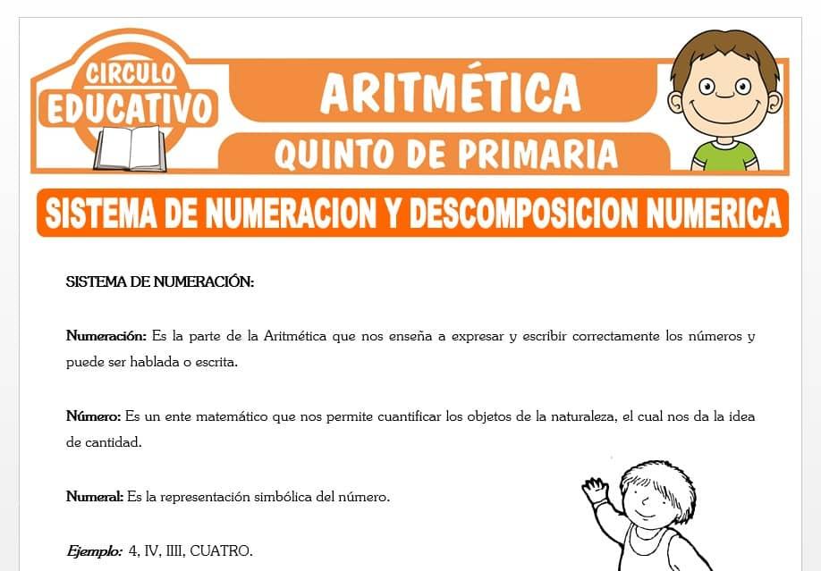 Sistema de Numeración y Descomposición Numérica para Quinto de Primaria