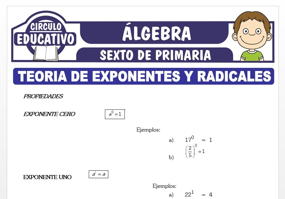 Teoría de Exponentes y Radicales para Sexto de Primaria