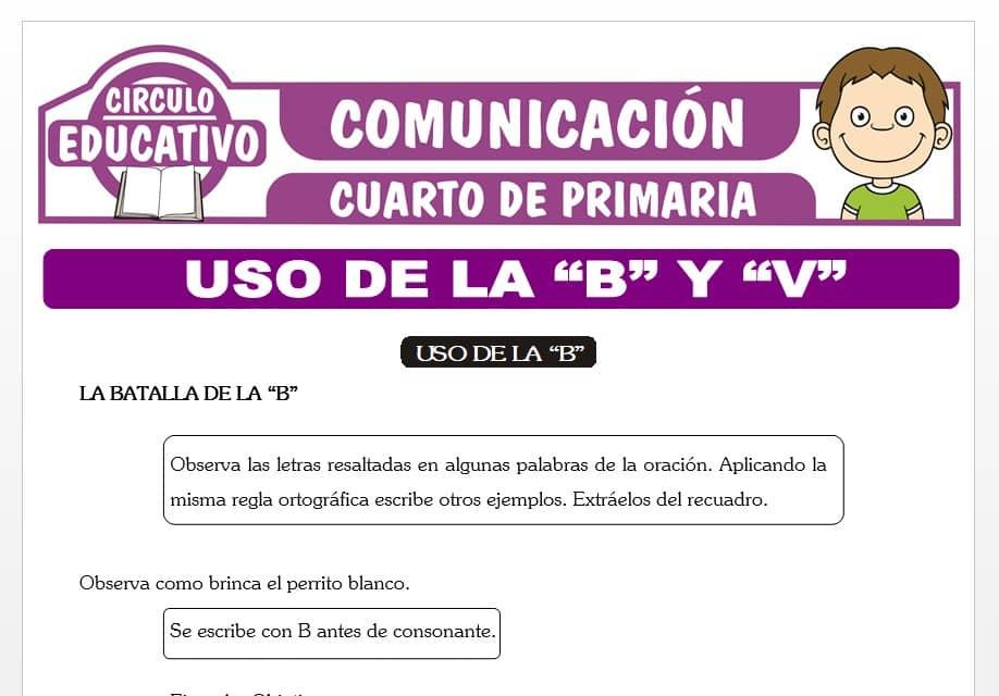 """Uso de la """"B"""" y """"V"""" para Cuarto de Primaria"""